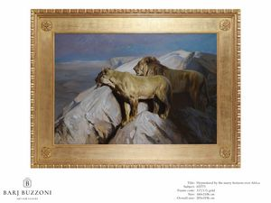 Hypnotized by the starry horizon over the Africa – H 3773, Pintura al óleo con leones