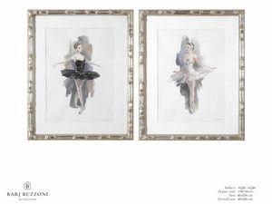 L'Etoile - The ballet dancer - AQ45 - AQ46, Pintura de acuarela con bailarina