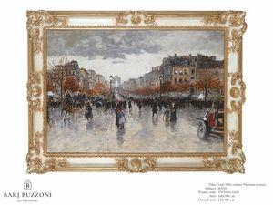 Late 19th Century, parisian Avenue – H 3703, Cuadro pintado al óleo