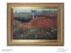 Promenade in the poppies field – H 1026, Pintura al óleo con amapolas