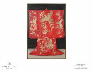 Red Kimono, the tradition of Kyoto - MT618, Obra de arte con adornos de pan de oro