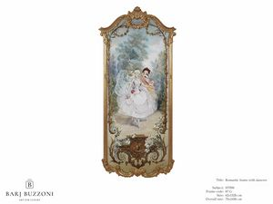 Romantic frame with dancers – H 3596, Pintura al óleo clásica sobre lienzo