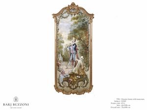 Romantic frame with musician – H 3597, Pintura al óleo de estilo clásico