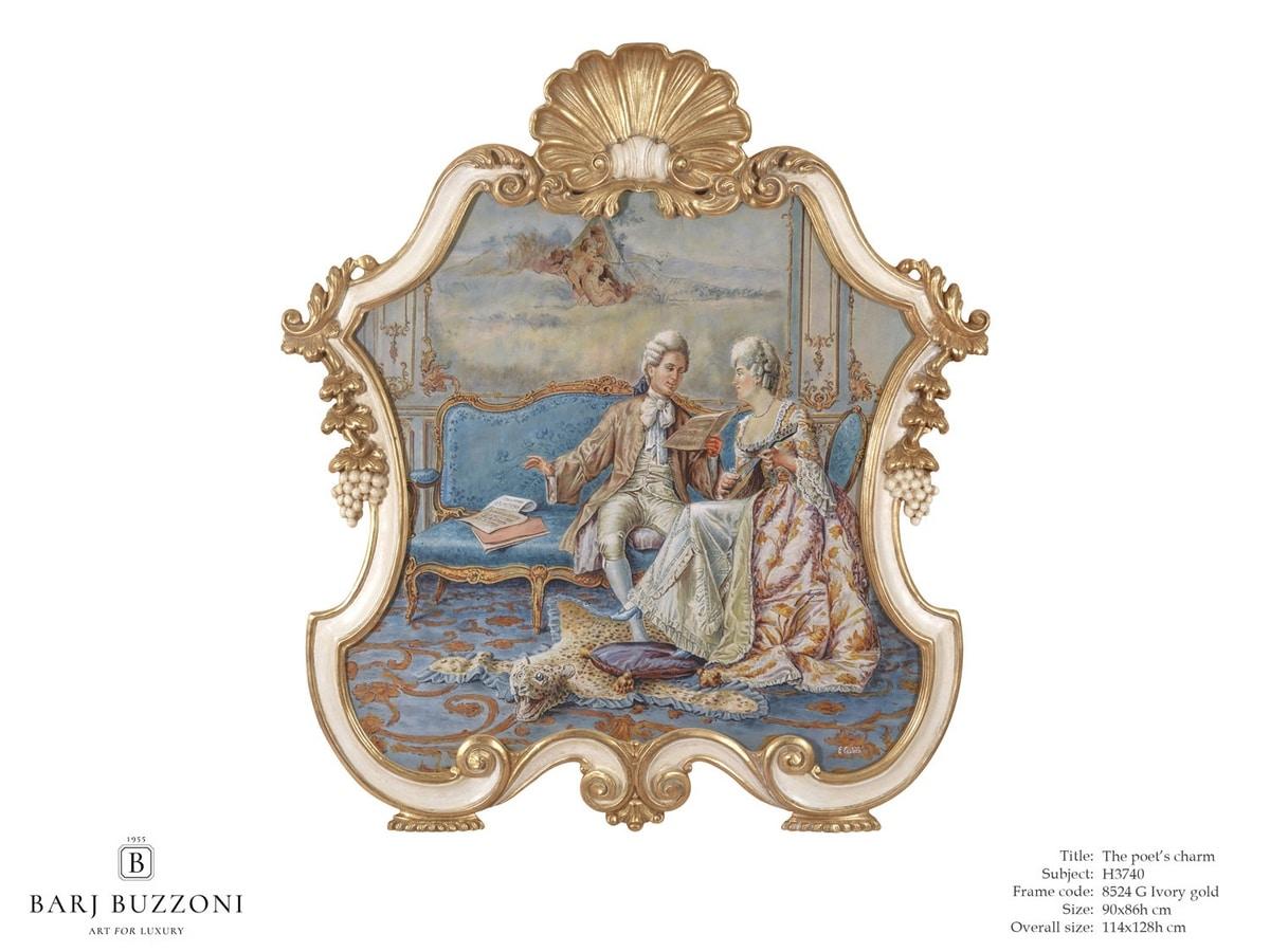 The poet's charm – H 3740, Cuadro de estilo clásico, con marco tallado