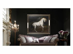 White horse – H 3698, Cuadro al óleo con elegante caballo blanco