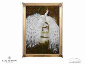 White peacocks dreaming – H 2326, Cuadro al óleo con pavos reales blancos