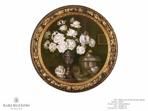 White roses for the Sunday dining – H 3213, Cuadro redondo, con rosas blancas