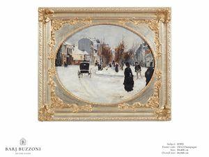 Winter's day – H 3951, Pintura al óleo con marco decorativo