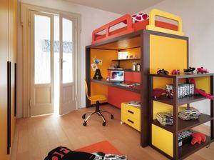 Boxer 9008, Dormitorio con cama convertible en escritorio.