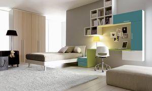 Comp. 108, Mobiliario de dormitorio con cama y la pared equipada