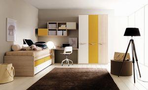 Comp. 109, Niños dormitorio, colores cálidos, acabados resistentes
