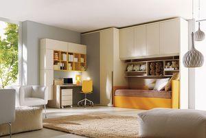 Comp. 206, Dormitorio, cama, armario, escritorio para niños