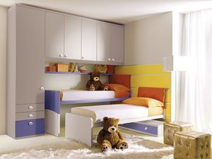 Comp. 208, Cama infantil con paneles de pared equipada, de color