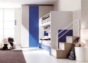 Comp. 303, Dormitorio con color, cama patentado sin guías del piso