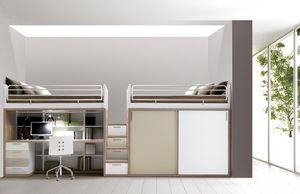 Comp. 309, Muebles de dormitorio, cama, escritorio, armarios, estantes