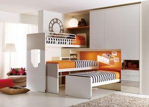 Comp. 404, Muebles para la habitación de los niños, cama con cabecero de forma