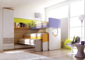 Comp. 405, Dormitorio compacto y robusto para niños con litera