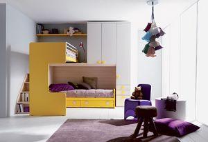 Comp. 407, Cama y mesa de noche para los niños, tamaños y acabados personalizables