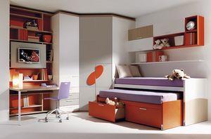 Comp. 955, Cama, armario, escritorio, unidades de pared Júnior