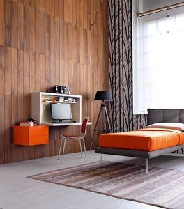 Comp. New 137, Habitación individual compacto, escritorio con capota plegable, cama tapizada