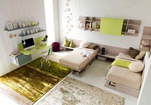 Comp. New 138, Practique habitación doble para los niños, con escritorio y librería colgando