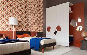 Comp. New 140, Muebles de dormitorio completo para los niños, con cama de matrimonio, armario y escritorio