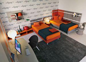 Comp. New 144, Dormitorio Kid con dos camas acolchadas, escritorio y estantería de pared