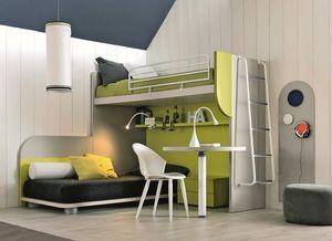 Comp. New 157, Dormitorio en esquina que maximizan el espacio, con dos camas y el escritorio