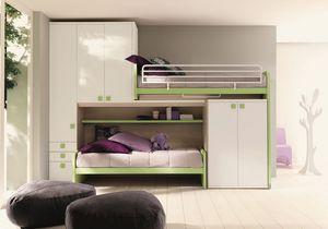 Comp. New 158, Dormitorio Ahorro de espacio, con altillo lineal, con dos camas y armario doble