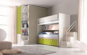 Comp. New 159, Dormitorio con cama litera, escalera con cajones, armario