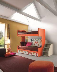 Comp. New 161, Litera con tres camas, mecanismo de plegado, ideal para habitaciones pequeñas