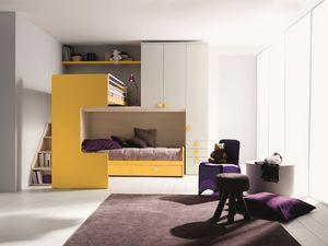 Comp. New 407, Dormitorio elegante y funcional, con cama de matrimonio, altillo esquina