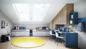 Compact 1850, Habitación infantil doble para techo abuhardillado.