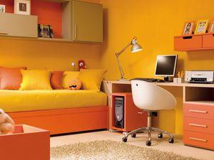 Compact 7003, Dormitorio infantil con cama, escritorio y unidades de pared.