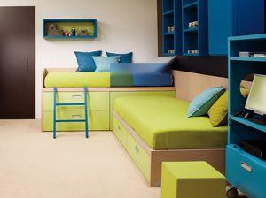 Compact 7006, Habitación infantil con camas esquineras, equipada con cajones.