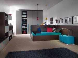 Compact 9006, Dormitorio que ahorra espacio, con escritorio que se puede transformar en una cama.