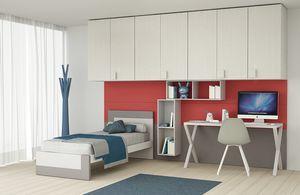 Cool comp.05, Dormitorio para niños con gran armario puente sobre la cabeza