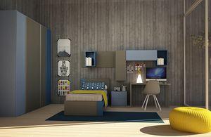 Cool comp.06, Dormitorio moderno para niños, con cama individual