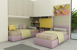 Cool comp.08, Dormitorio colorido para niños, con escritorio plegable