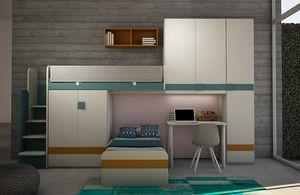 Cool comp.18, Dormitorio para niños con armario cama y puente tipo loft