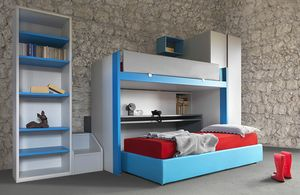 Cool comp.20, Muebles para niños pequeños con litera y escritorio deslizantes