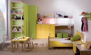 Kids 7004, Habitación infantil con cama sobre ruedas.