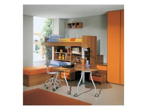 Kids Bedroom 1, Dormitorio con literas, estantes y cajones, armario