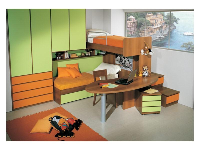 Kids Bedroom 3, Dormitorio Kid con cama de matrimonio, escritorio incluido en la estructura de litera, acabado en verde y naranja