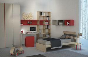 Natural comp.01, Dormitorio para niños con biblioteca y armario