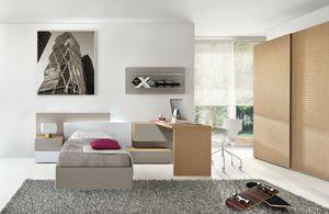 Natural comp.04, Dormitorio moderno para niños, con escritorio conectado a la mesita de noche