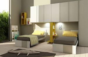 Natural comp.09, Dormitorio para niños con armario de puente, para dos camas