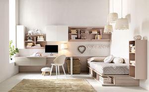 Comp. New 136, Habitación con colores suaves para las niñas, espacios ordenados