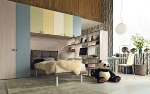 Comp. New 141, Ahorro de espacio dormitorio niño, con armario empotrado puente, cama tapizada y librería escritorio