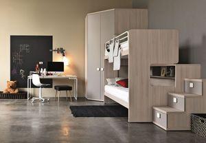 Comp. New 152, Dormitorio para niños, cama litera con escalera